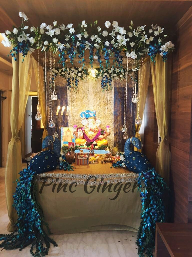 Peacock Theme Ganpati Decoration Contact 919967144050 Decorideas Decor Ganpatidecoration