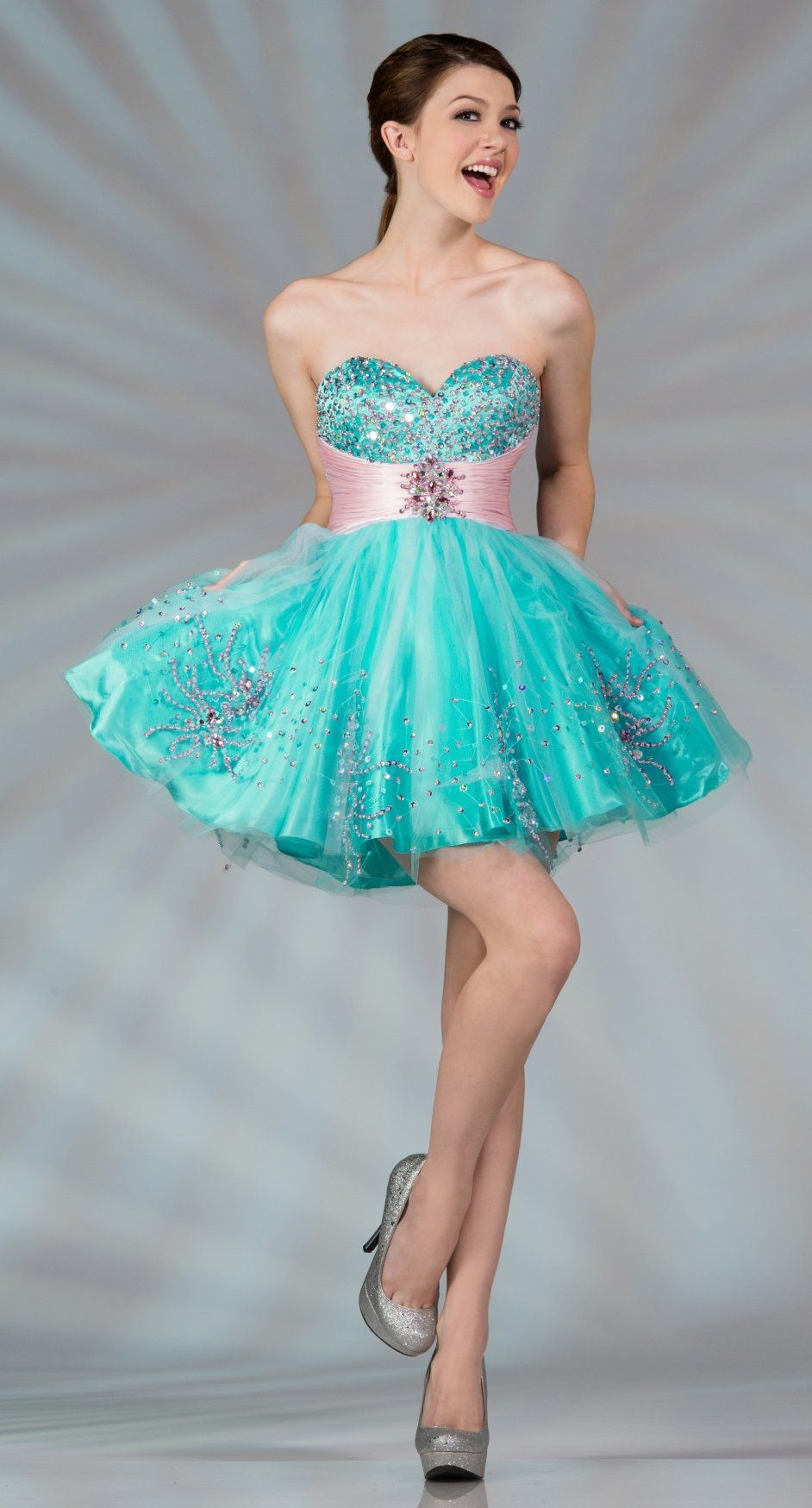 Strapless Studded Bodice Turquoise Pink Sweet 16 Birthday Dress ...