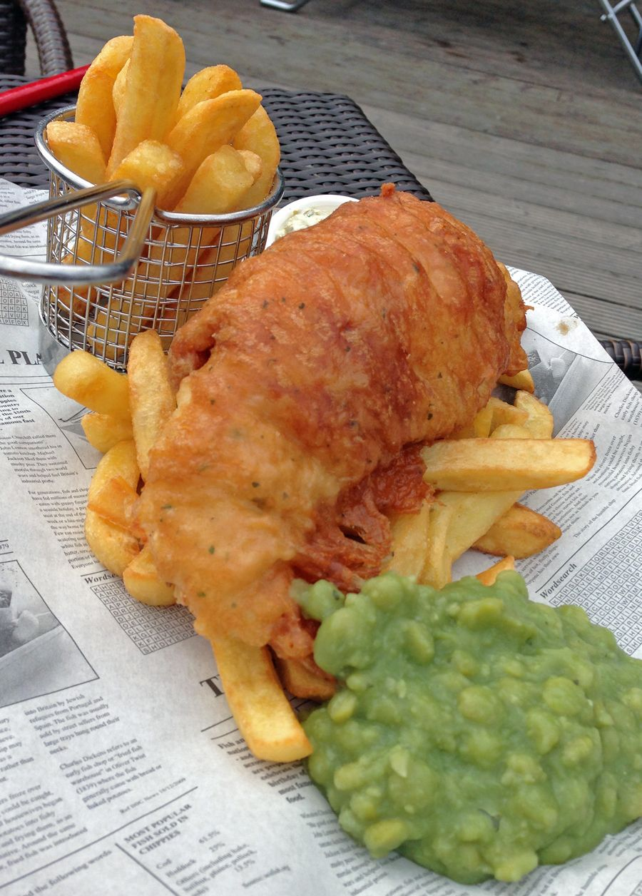 For The Wedding Breakfast Fish And Chips With Mushy Peas Bread Er