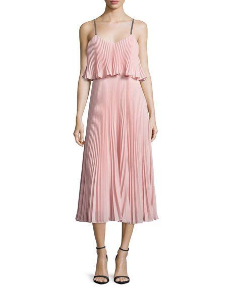 Halston Heritage Sleeveless Pleated Popover Midi Dress, Blossom Pink/Black