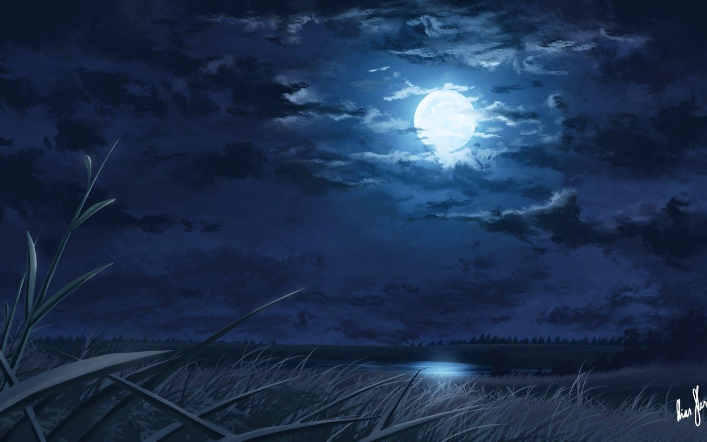 Moon Digital Drawings Night Art Image 1440x900 Jpg Moon Light And Stars Night Background With Trees Nature Art Anime Scenery Wallpaper Moon Painting Moon Sea