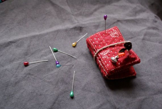 treasury / small needle book in Indian khadi cotton , wool, vintage silver and glass beads