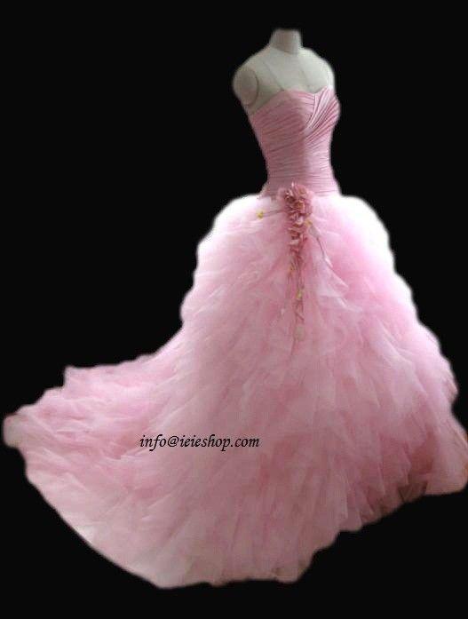 Pink Wedding Dress Pink Wedding Dresses Strapless Wedding Gown Pink Wedding Dress,Neon Wedding Dresses