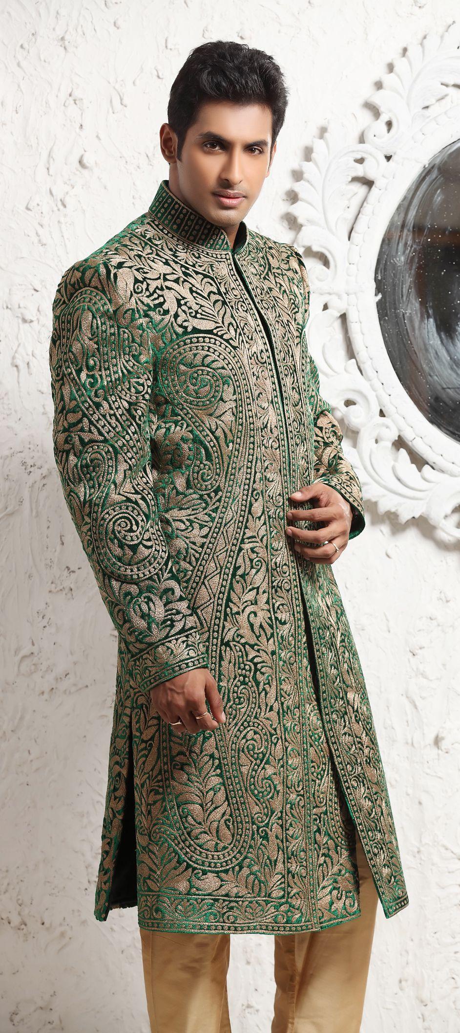 Brocade Sherwani in Green with Thread work