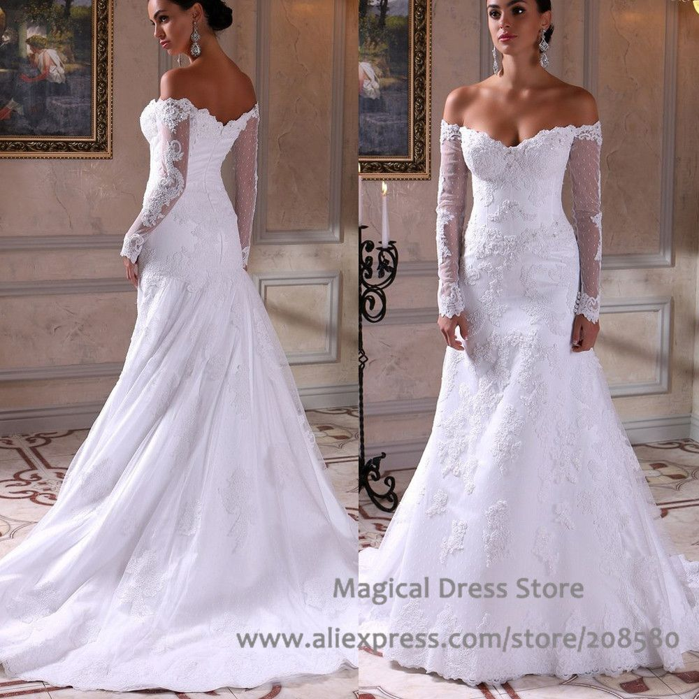 Popular drop shoulder wedding dresses buy cheap drop for Drop sleeve wedding dress