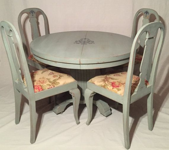 Refinished Distressed Vintage French Country Style Dining Room Set Annie Sloan
