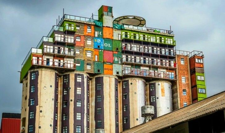 Shipping Crate Houses silos topped with stacks of shipping containers provide cheap