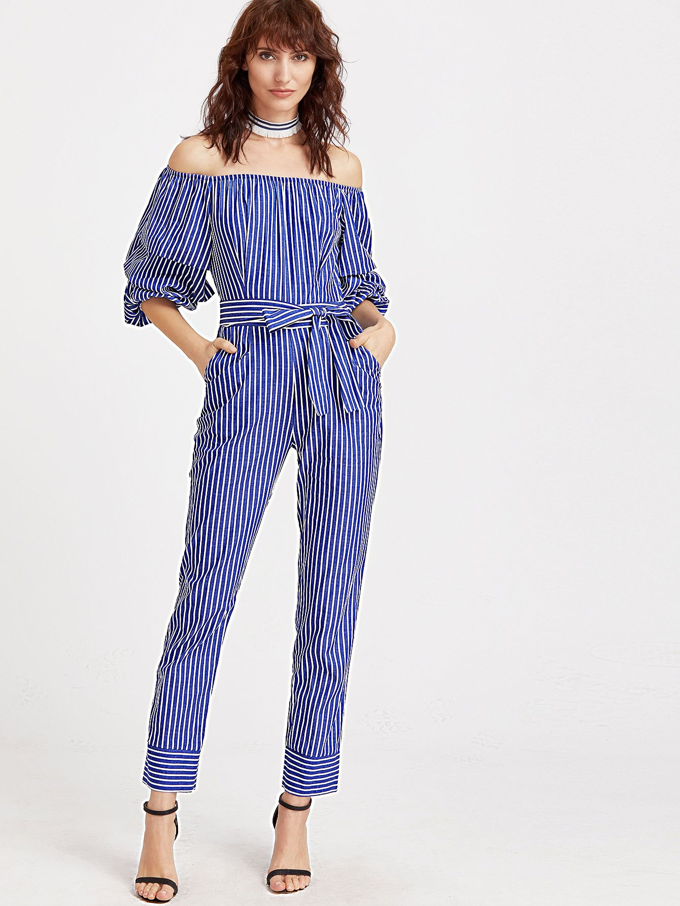 c37a15dd979 Shop Blue And White Striped Billow Sleeve Jumpsuit online. SheIn offers Blue  And White Striped Billow Sleeve Jumpsuit   more to fit your fashionable  needs.