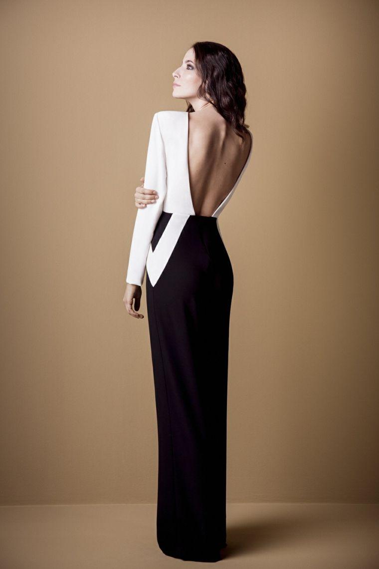 Abiti da cerimonia lunghi e un idea abbigliamento con vestito bianco e nero  con la schiena scoperta f544df85a81