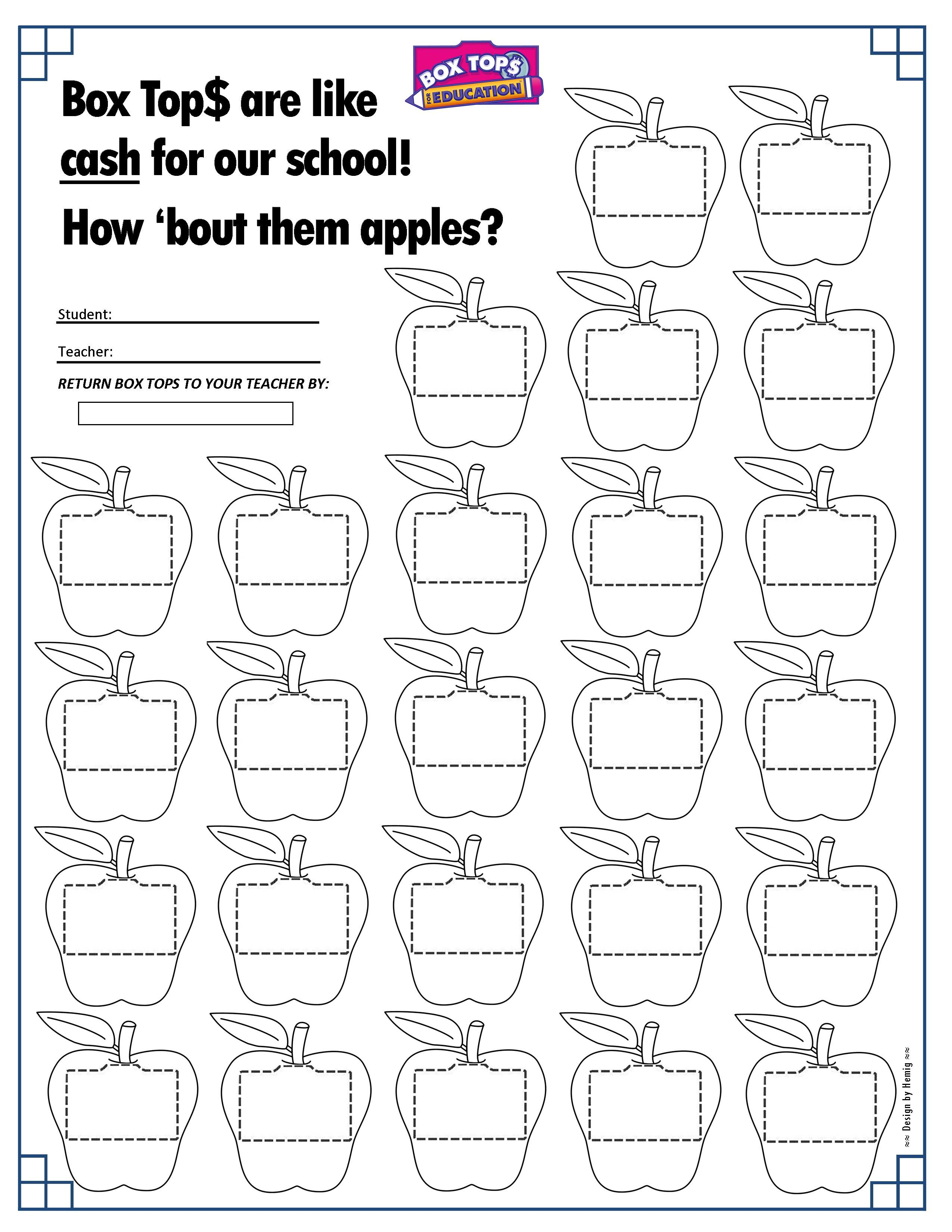 Apples Box Tops Collection Sheet 25ct Back To School