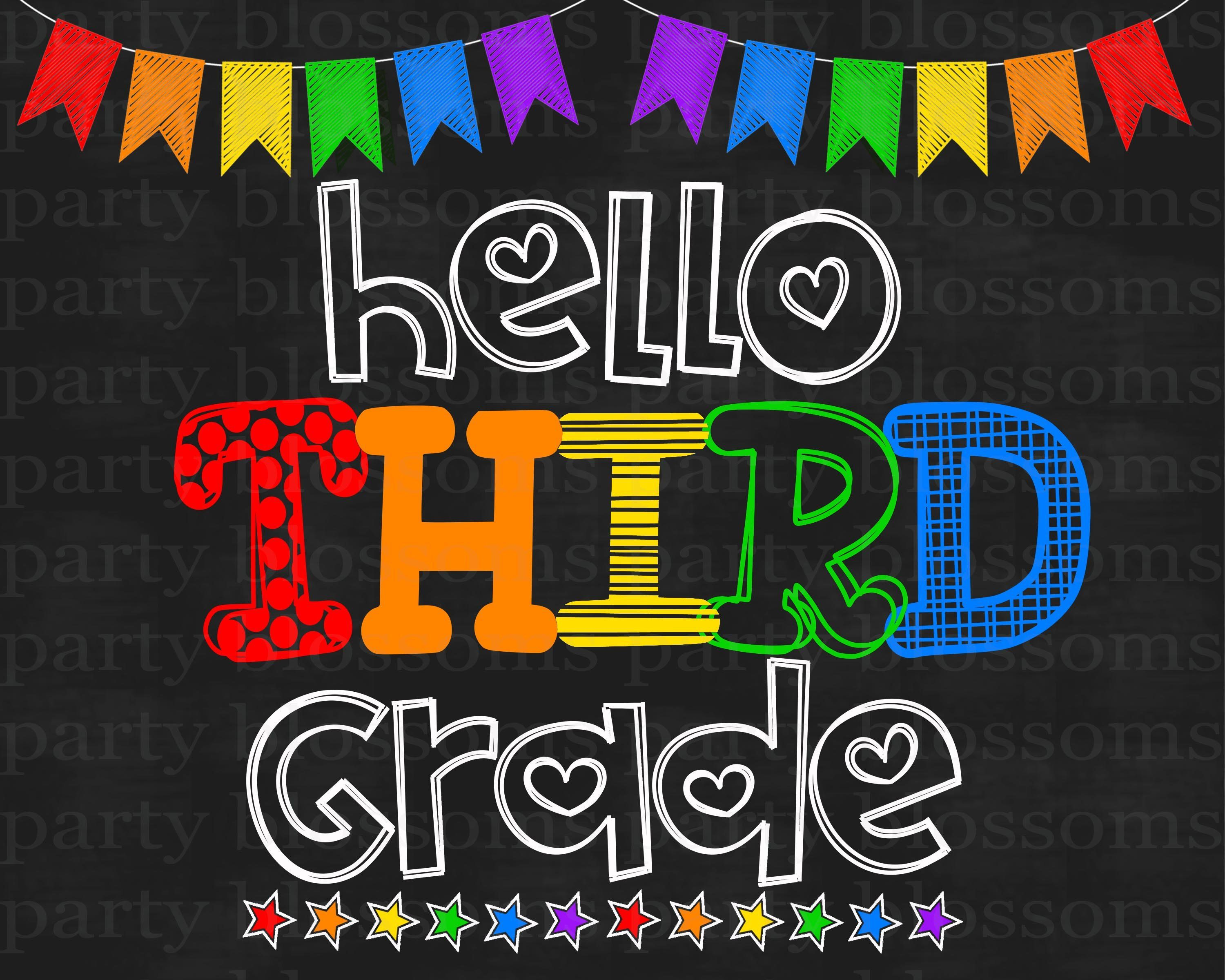 picture relating to First Day of 3rd Grade Sign Printable called Fast down load Rainbow Hello there 3rd 3rd Quality Chalkboard