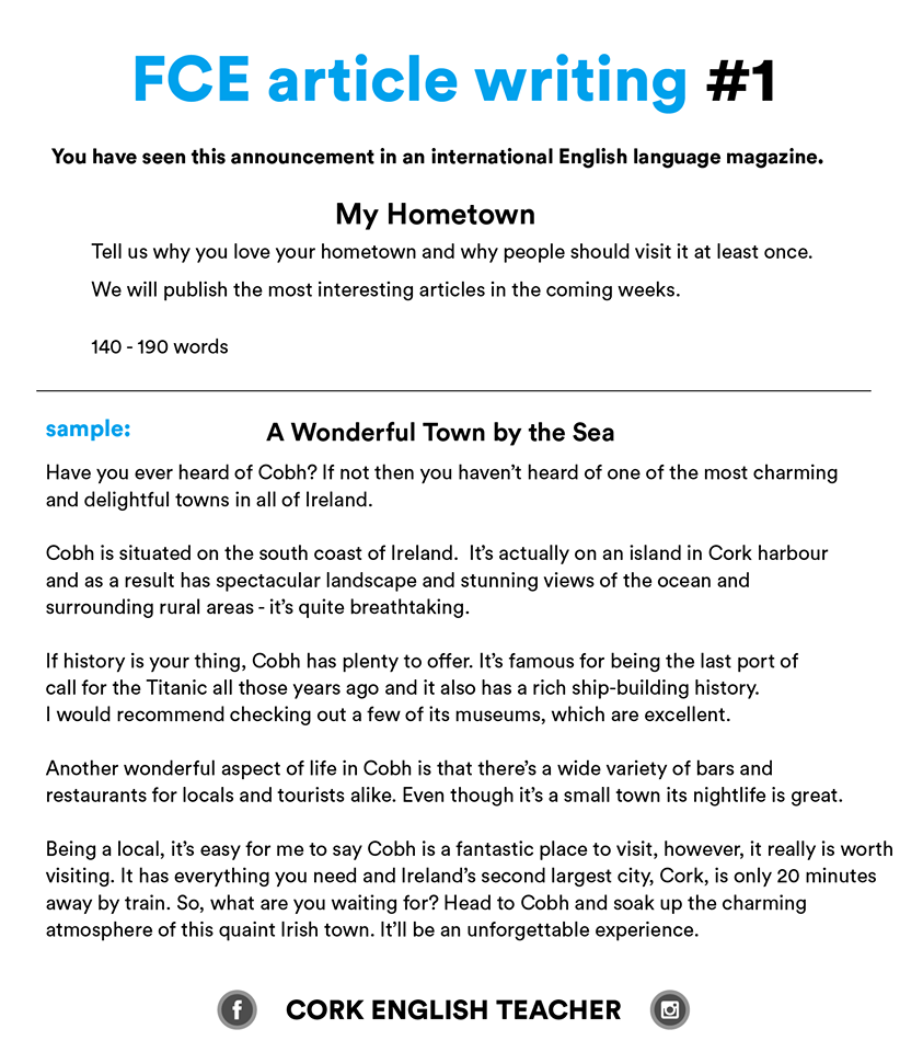 First Certificate Exam - FCE article writing 24 - My Hometown