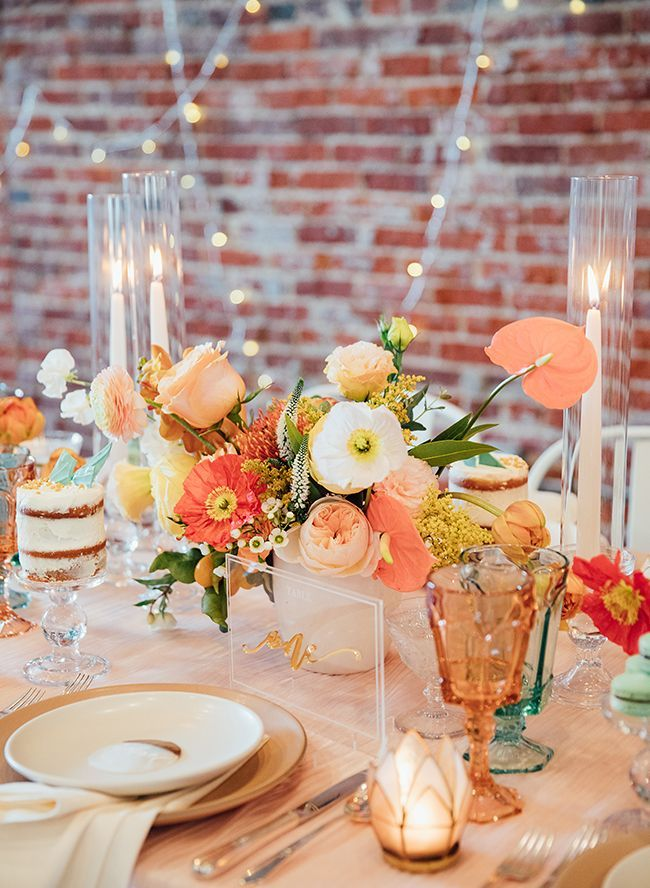 Modern Turquoise and Peach Wedding Inspiration images