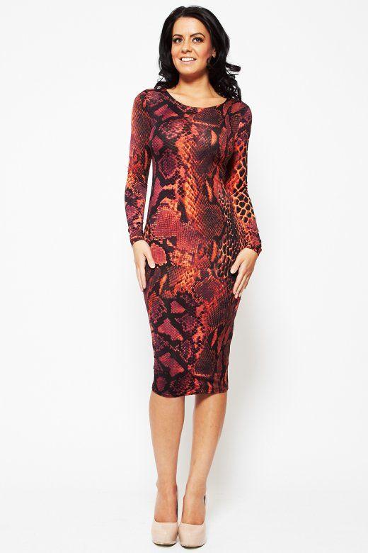 alba orange and purple snake print long sleeved midi dress