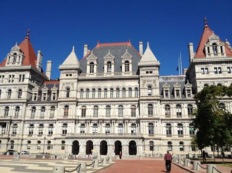 Historic Albany: Near the center of town is the New York State Capitol building finished in 1898. But when you turn around, you see...