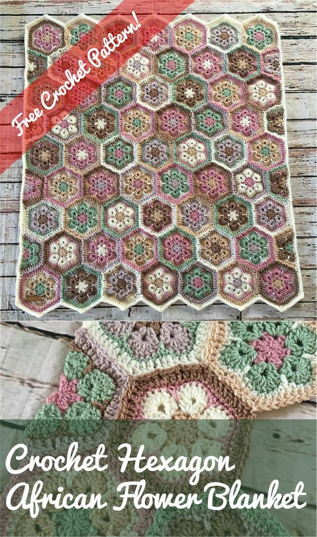 Crochet Hexagon African Flower Blanket Free Pattern Tutorial