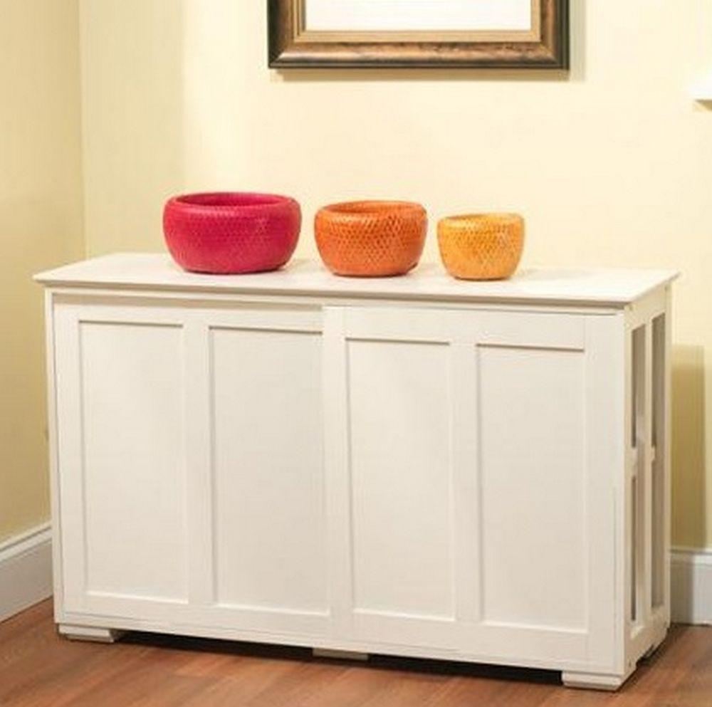 Wooden Stackable Cabinet White SLiding Door Storage ...