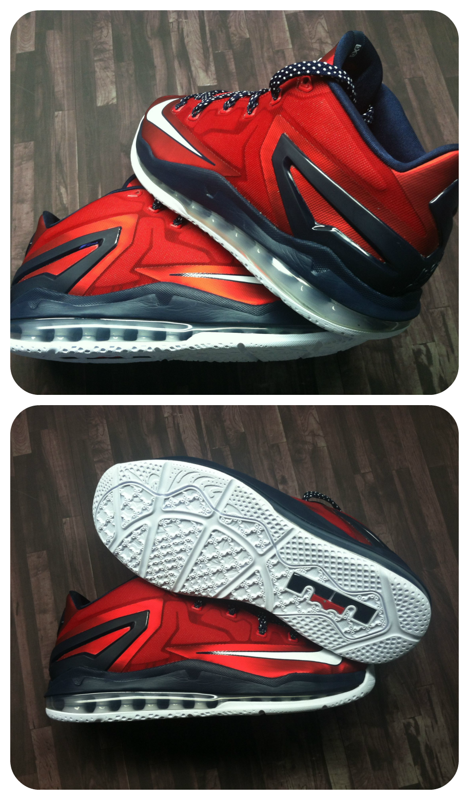 The Nike Air Max LeBron XI Low drops tomorrow in this red, white, and blue  colorway.