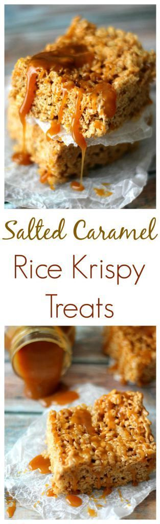 Salted Caramel Rice Krispy Treats. So easy to make and the flavor is out of this world!!  I will never go back to regular treats!