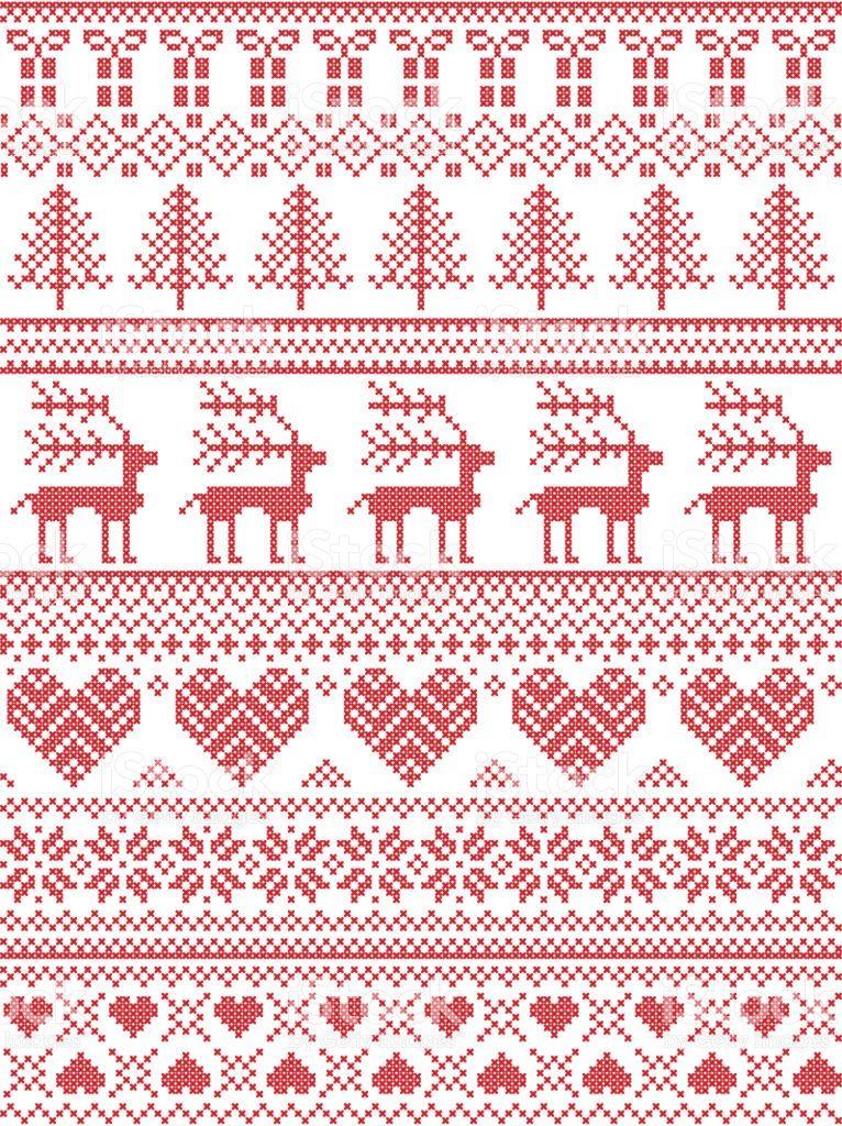 Scandinavian Nordic Style Winter Stitching Christmas Pattern Christmas Pattern Pattern Heart Patterns