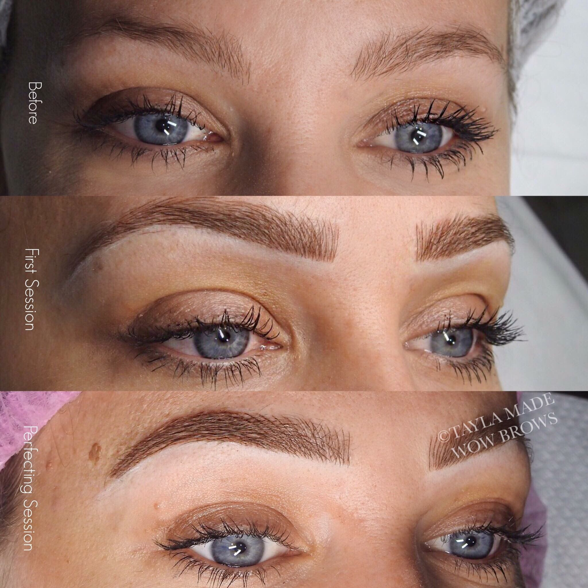 Hair stroke feather touch microblading microstroke for Natural eyebrow tattoo