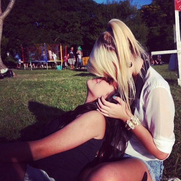 Blonde brunette lesbians making love