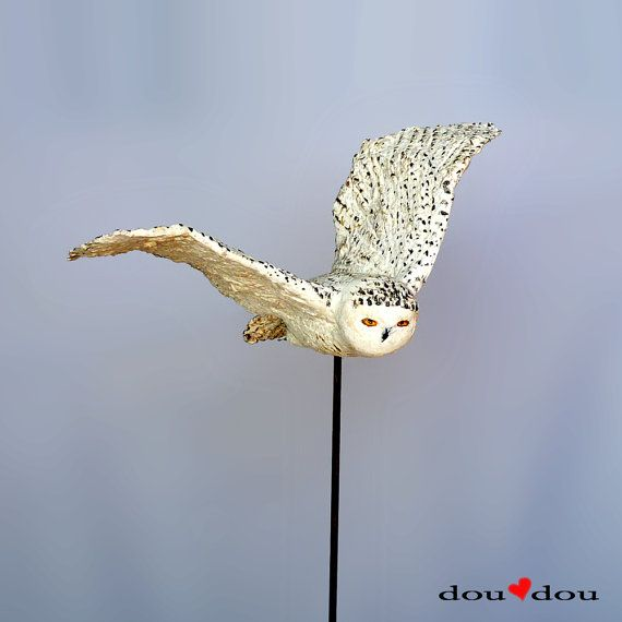Flying Bird Sculpture - Snowy Owl Sculpture