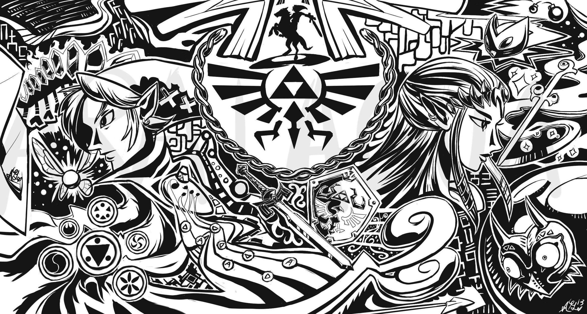 White And Black Abstract Illustration The Legend Of Zelda Link Zelda 1080p Wallpaper Hdwallpaper Desktop Legend Of Zelda Design Pattern Art Wind Waker