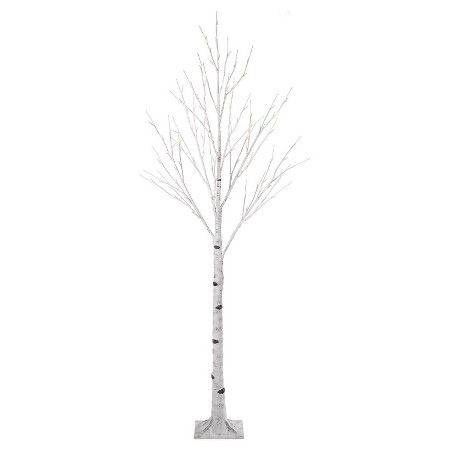 Pre Lit LED Artificial Christmas Tree Birch With White Lights : Target