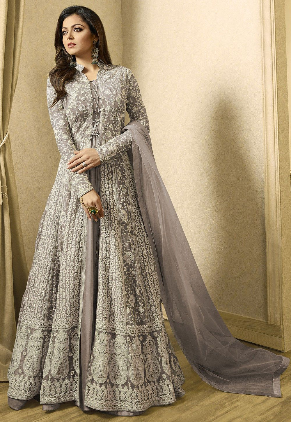 Grey Designer Abaya Buy Embroidered Net Abaya Style Suit In Fawn Online Item