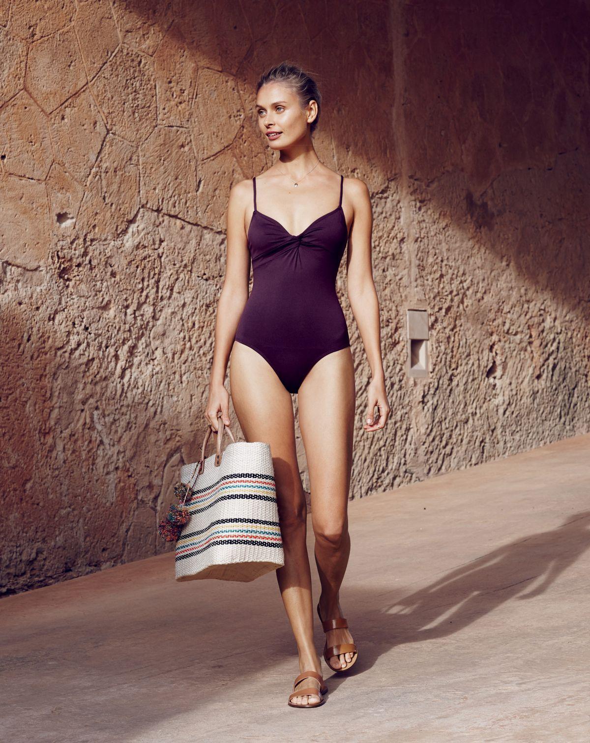 0e58b69d8adad J.Crew women's Italian matte twist-front one-piece swimsuit and Mar Y Sol  Caracas tote bag.
