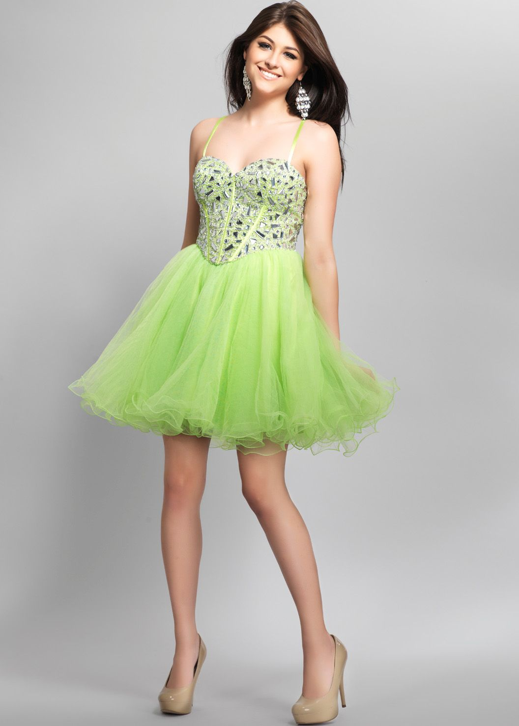 Find Dave & Johnny 7521 neon lime green short beaded sweetheart prom ...