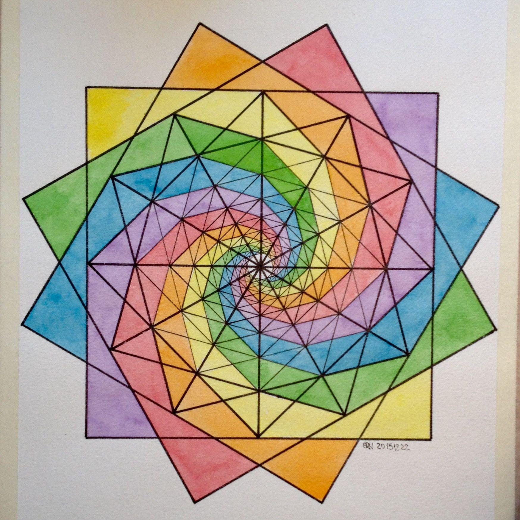 Regolo54 Fractal Fibonacci Geometry Symmetry Pattern Math Escher Art Warercolor