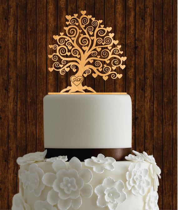 Kirschholz Cake Topper / Baum Kuchen Topper / Rustikale Kuchen