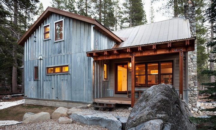 Awesome Corrugated Metal Cabin With Small Front Porch, Perhaps Do Stone Accents  Surround