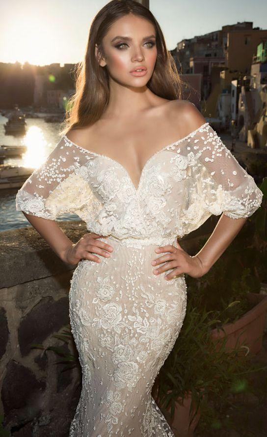 Featured Dress: Julie Vino; Sheer off-the-shoulder sleeve wedding ...