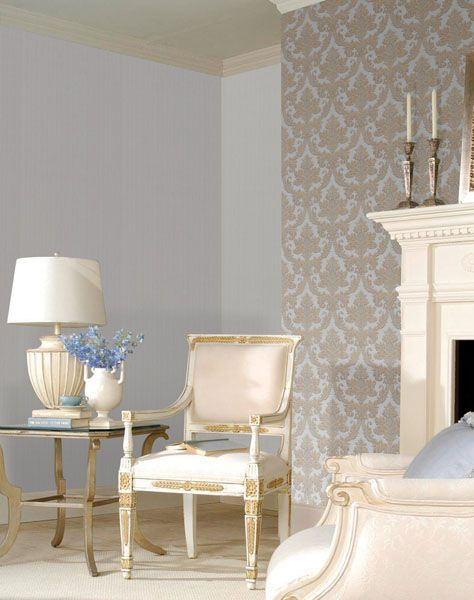 Damask Living Room Decor: Beautiful Damask Feature Wall In A Living Room Decor