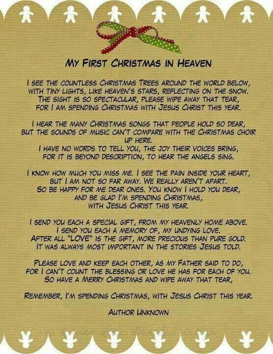 My First Christmas In Heaven A Phenomenal Poem For Those Of Us Who Have Lost Loved Ones During The Past Year This Beautiful Was Enclosed Sympathy
