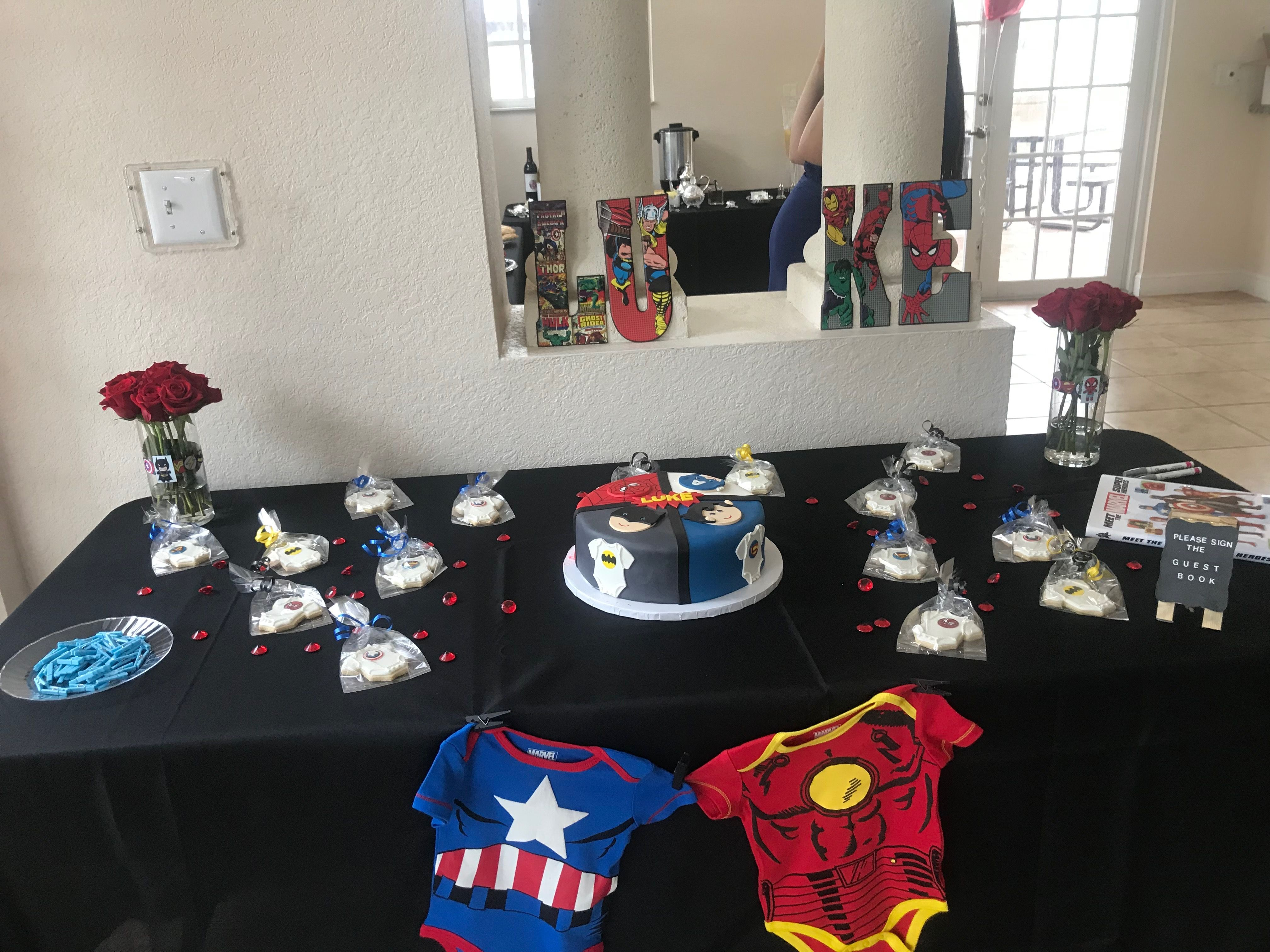 Baby Shower Cakes Dc ~ Cake table superhero theme baby shower marvel and dc comics