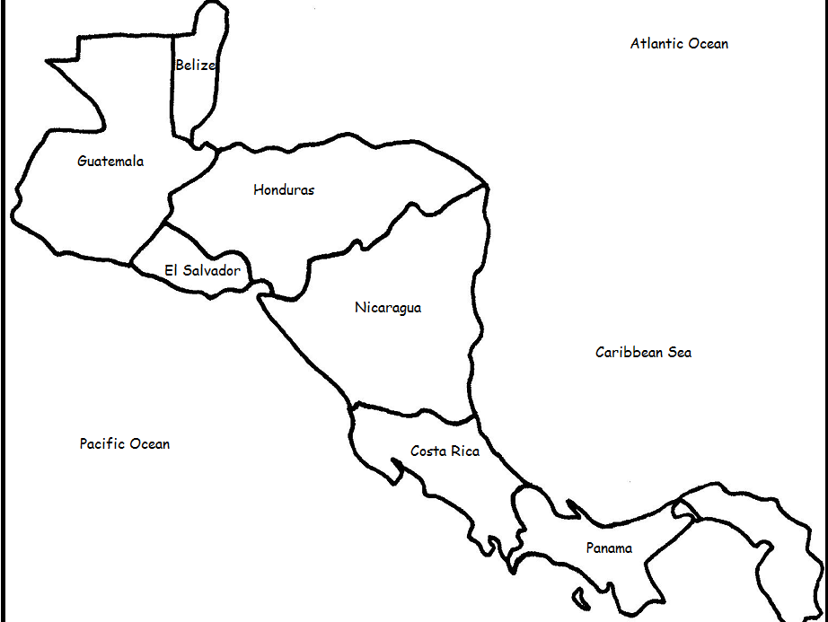 outline map of central america