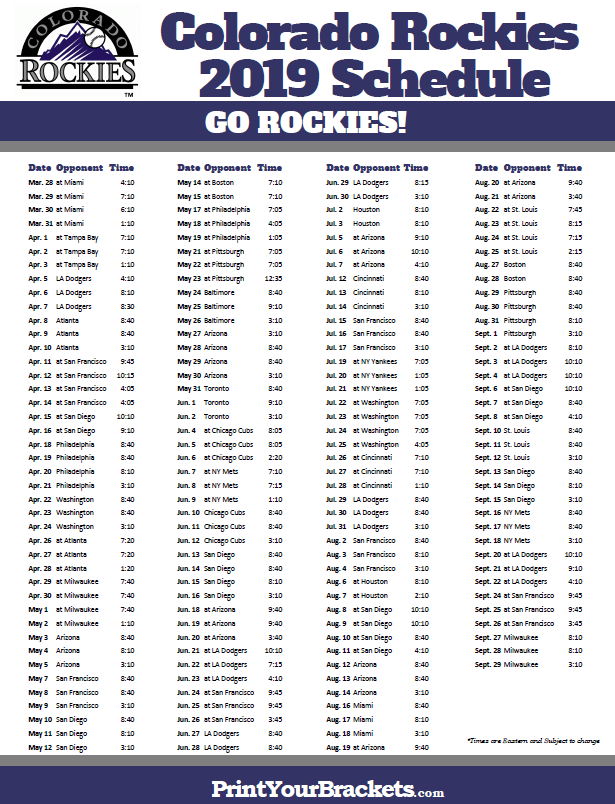 Printable 2019 Colorado Rockies Schedule | Printable MLB Schedules