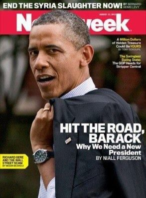 """Newsweek flip-flops and tells Obama to HIT THE ROAD. NOT PHOTOSHOPPED! """"Why does Paul Ryan scare the president so much? Because Obama has broken his promises, and it's clear that the GOP ticket's path to prosperity is our only hope."""""""