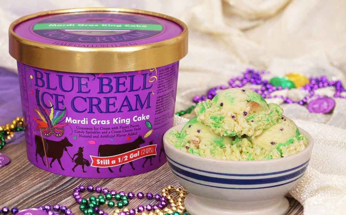 Blue Bell Creameries Introduces Mardi Gras King Cake Ice Cream King Cake Ice Cream Mardi Gras King Cake King Cake