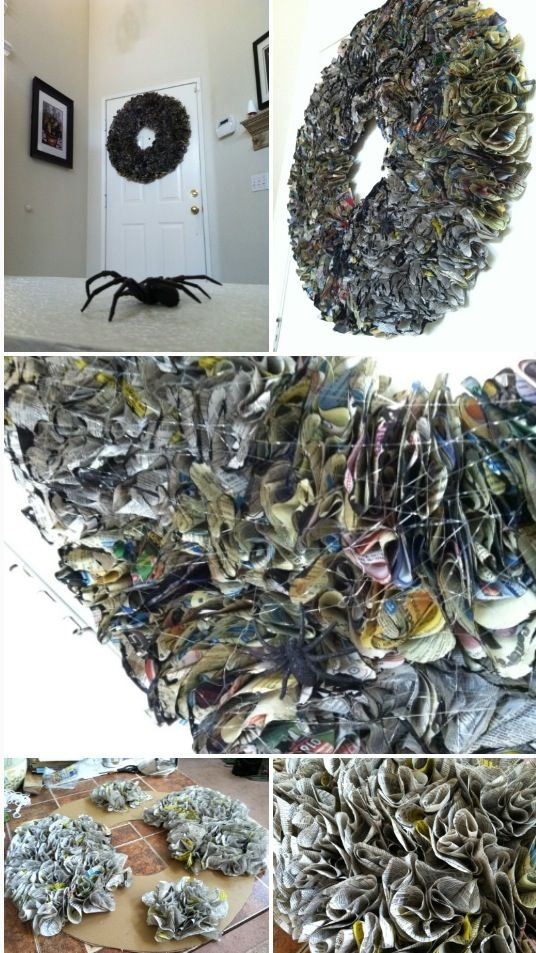 Halloween Wreath made out of recycled phone book