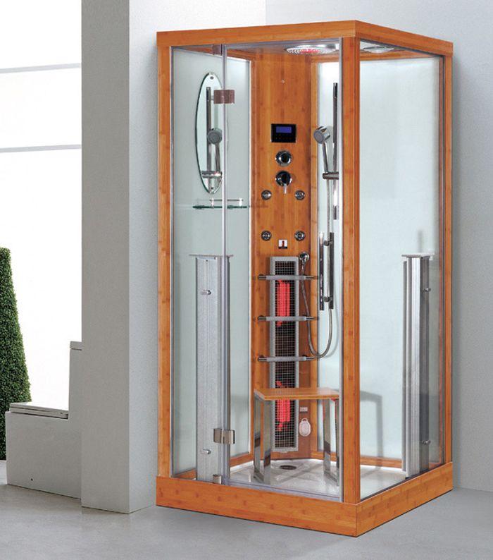 infrarot dampfsauna dampfdusche sauna 3 in 1 100 x 100 x 215 cm bambus. Black Bedroom Furniture Sets. Home Design Ideas