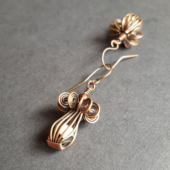 Wire Wrapped Earrings, Copper Jewelry, Handmade Wired, One of a kind ...