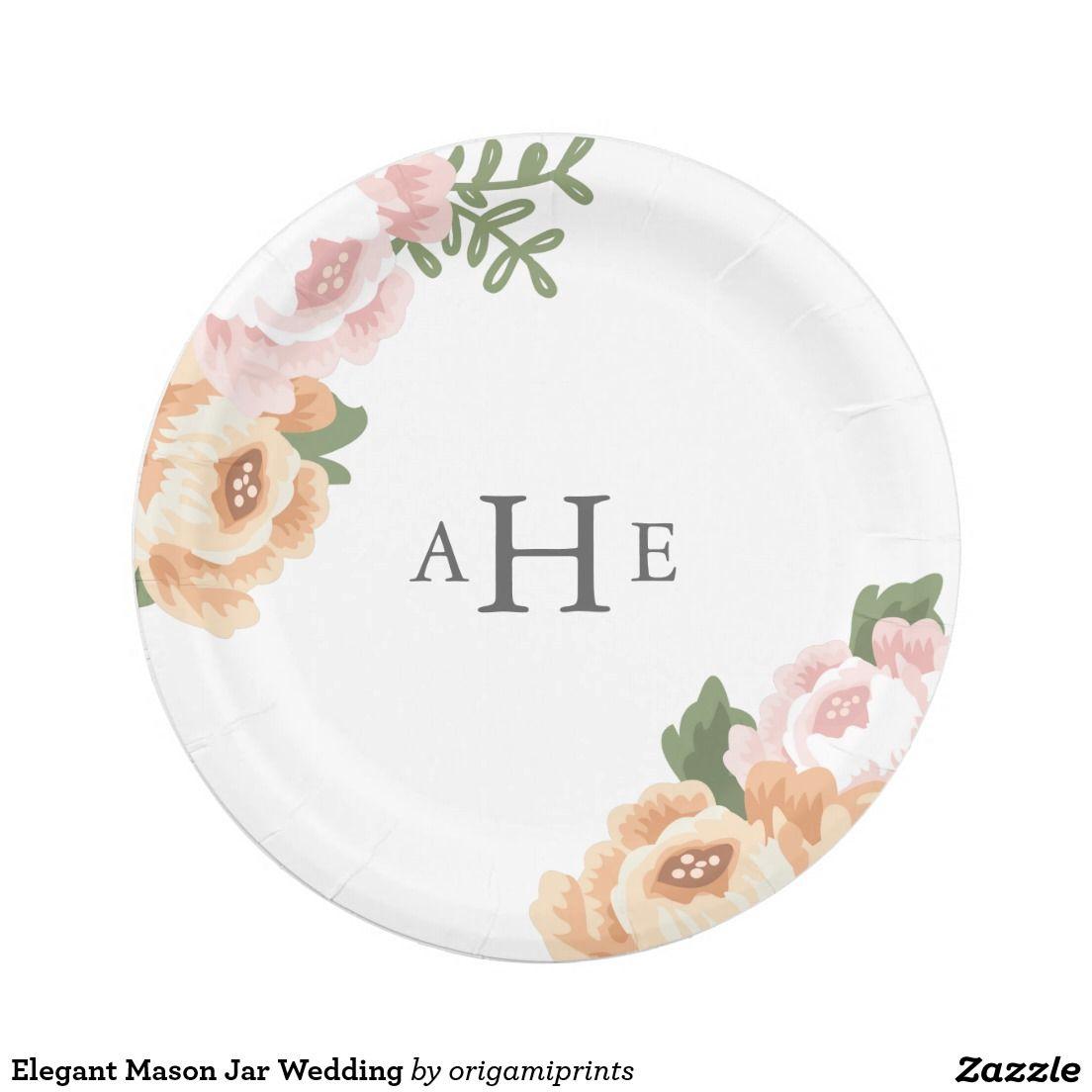 Elegant Mason Jar Wedding Paper Plate  sc 1 st  Pinterest & Elegant Mason Jar Wedding Paper Plate | Wedding and Engagement ...