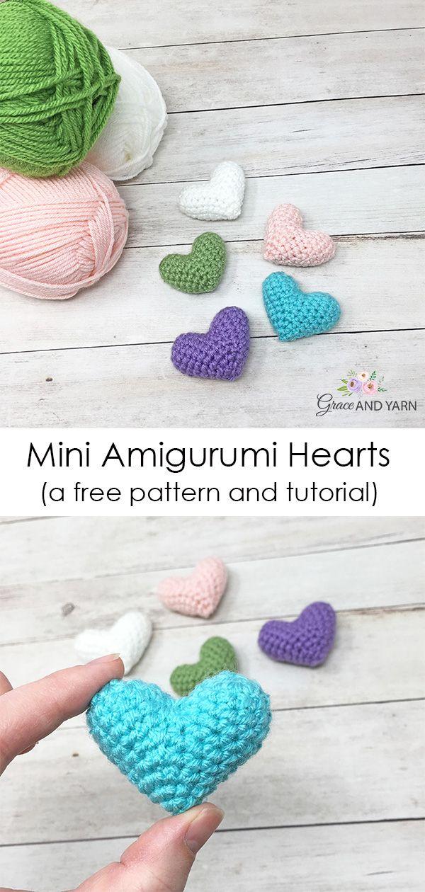 Mini Crochet Heart Pattern #amigurumifreepattern