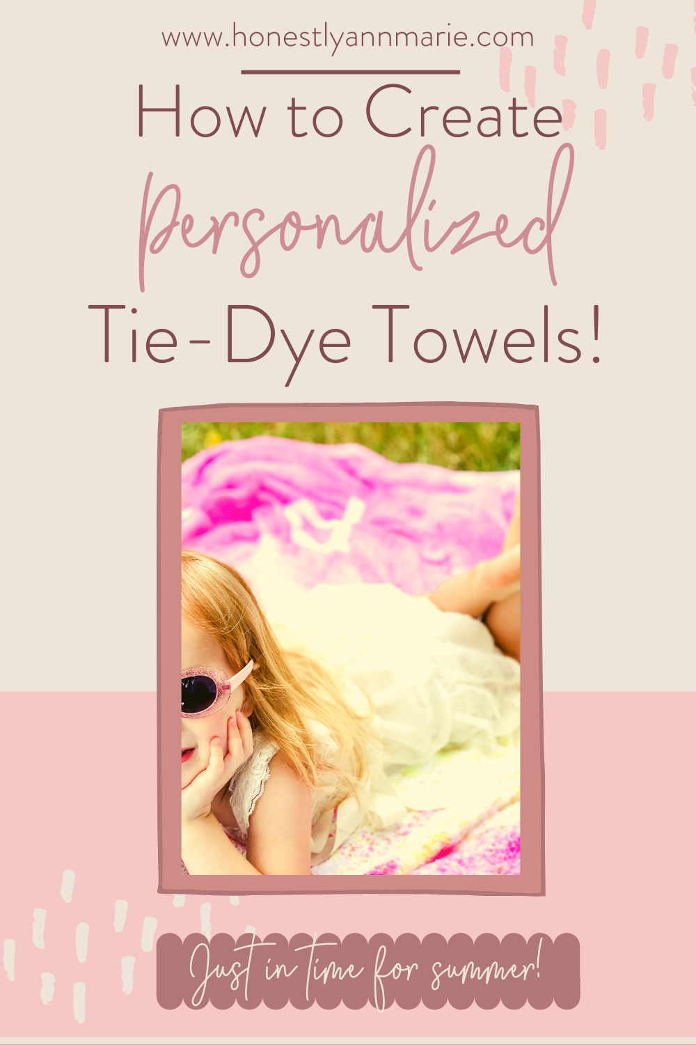 This tie-dye activity is PERFECT in preparation for all of your summer adventuring with kids! You and your family will have a wonderful time creating them, and it'll solve the fighting over towels during those beach and pool days! Enjoy! Tie dye activity, tie dye towels, white towels, diy crafting, diy towels, beach towels, activities with kids