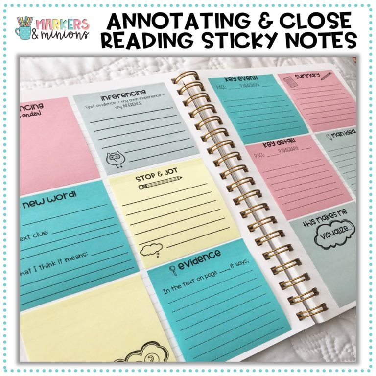 Annotating & Close Reading Printable Sticky Notes Sticky